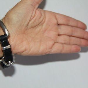 UNO de 50 Jewelry - Uno de50 Bite Silver Plated Black Leather Bracelet